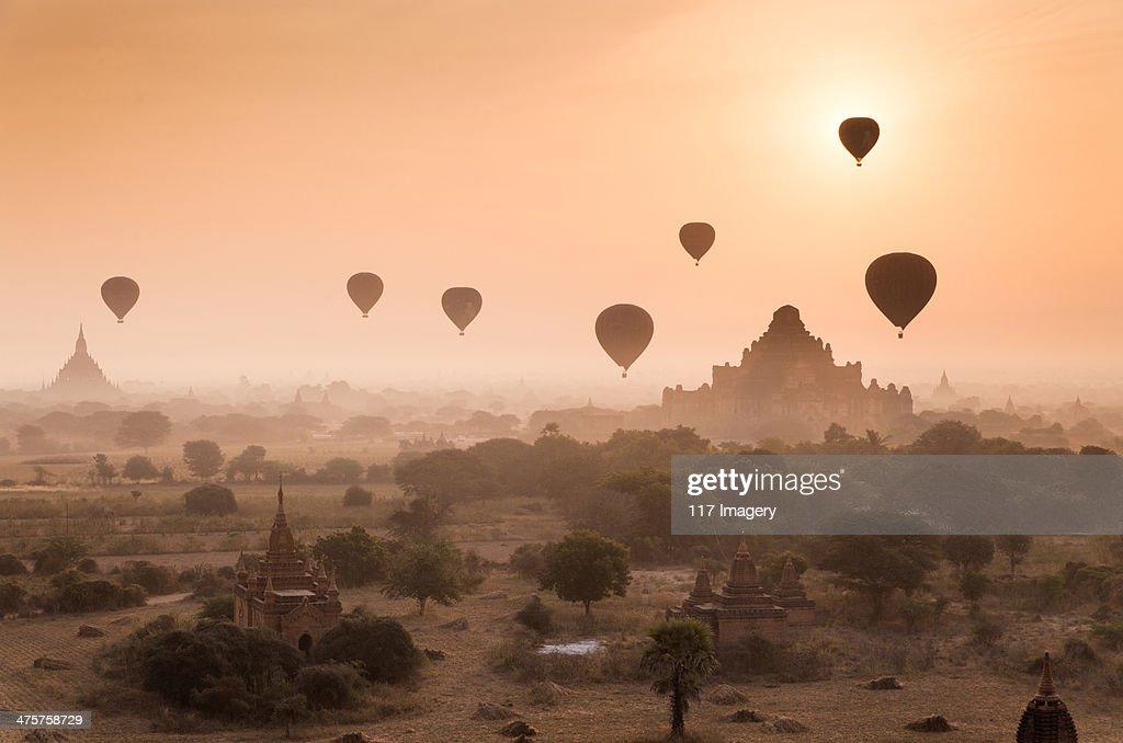Myanmar - Misty dawn over ancient Bagan : Stock Photo