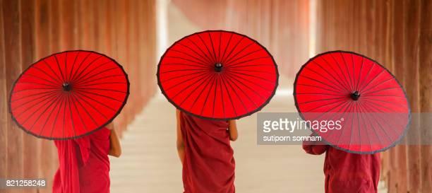 Myanmar Novice monk walking together