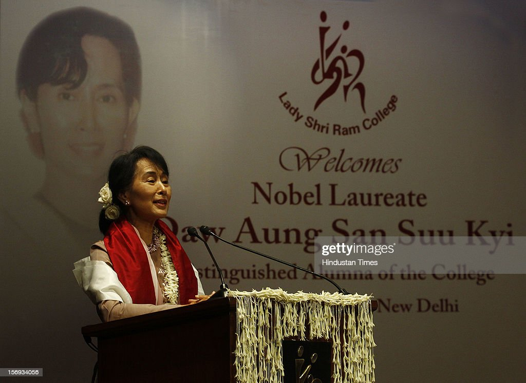 Myanmar opposition leader and National League for Democracy Chairperson Aung San Suu Kyi speaks during her visit to Lady Sri Ram College, her alma mater on November 16, 2012 in New Delhi, India.
