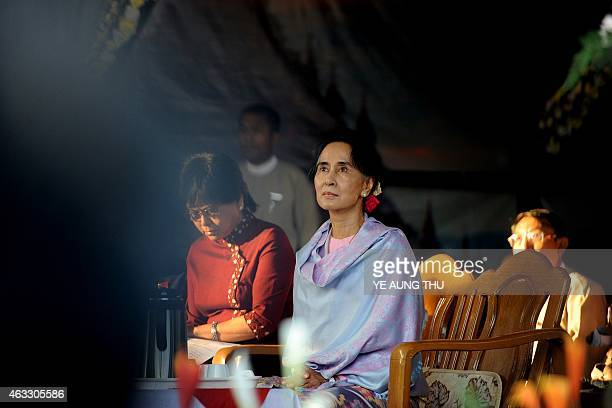 Myanmar opposition leader Aung San Suu Kyi is pictured after arriving to attend a ceremony to mark the 100th birthday of her father independence hero...