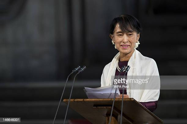 Myanmar opposition leader Aung San Suu Kyi smiles as she addresses both Houses of Parliament inside Westminster Hall after on June 21 2012 in London...