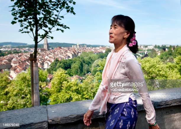 Myanmar opposition leader Aung San Suu Kyi visits the Rose Garden in Bern on June 15 2012 on her first trip to Europe since 1988 Suu Kyi will visit...