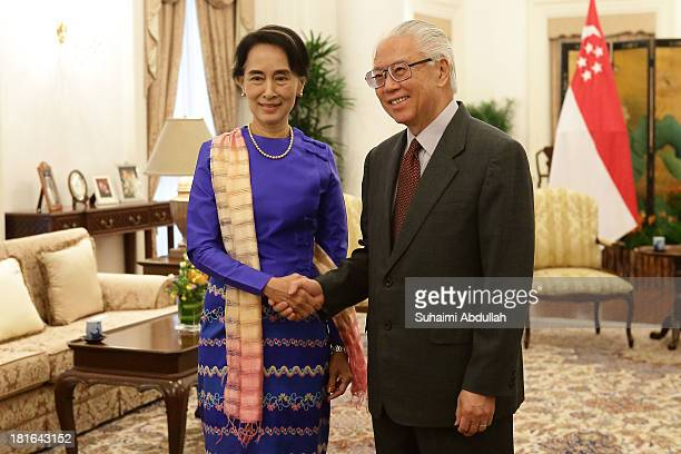 Myanmar opposition leader, Daw Aung San Suu Kyi meets with Singapore President, Tony Tan Keng Yam at the Istana on September 23, 2013 in Singapore....