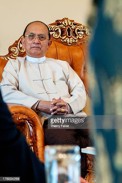 Myanmar president Thein Sein sits in the presidential palace in Naypyidaw..