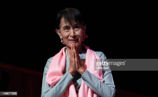 Myanmar pro-democracy leader Aung San Suu Kyi attends a meeting with members of the Myanmar community at the Royal Festival Hall on June 22, 2012 in...
