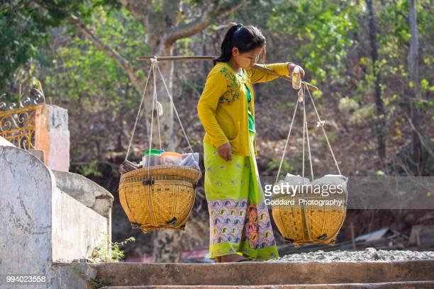 myanmar: rural scene - yoke stock photos and pictures