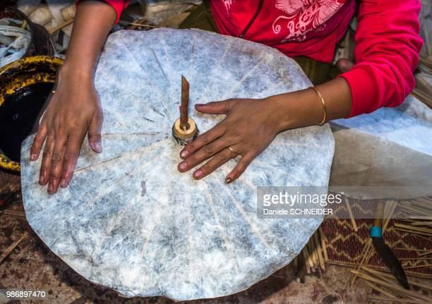 Myanmar, Shan region, Pindaya, artisanal fabrication of Korean paper sunshade