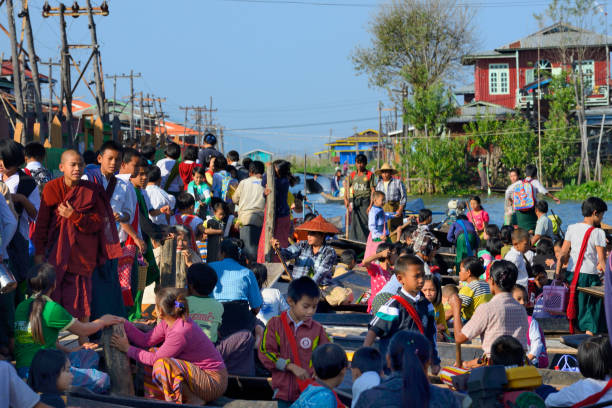 Myanmar, Shan State, Inle Lake, Kay Lar village, Coming out from school
