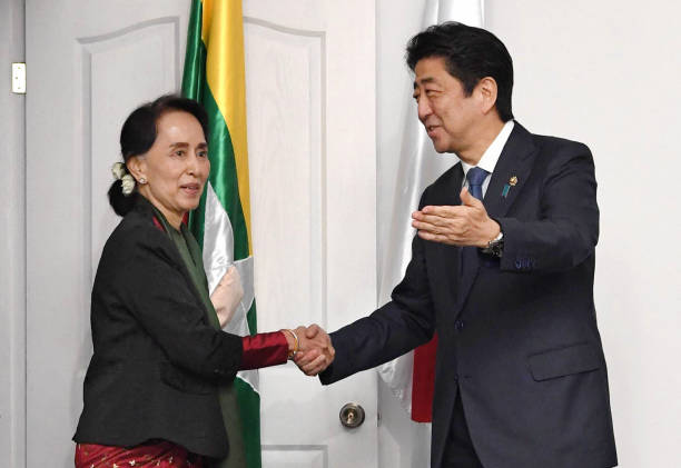 Japanese pm abe visits vietnam and philippines day 6 photos and myanmar state counsellor aung san suu kyi and japanese prime minister shinzo abe shake hands during m4hsunfo