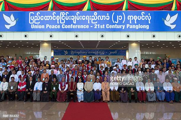 Myanmar State Counsellor Aung San Suu Kyi and President Htin Kyaw gather with ethnic rebel leaders top government officials and UN Secretary Ban...