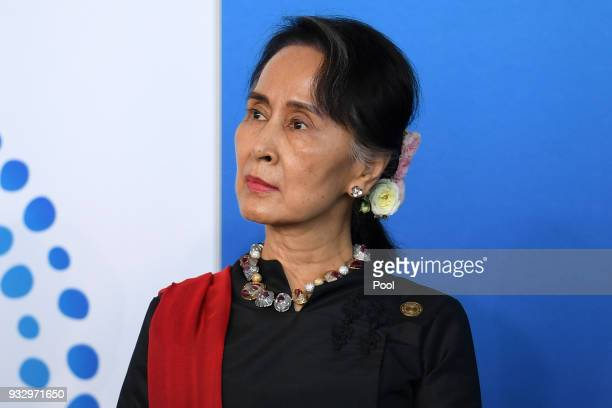 Myanmar State Counsellor Aung San Suu Kyi attends the New Colombo Plan Reception during the ASEANAustralia Special Summit at the Association of...