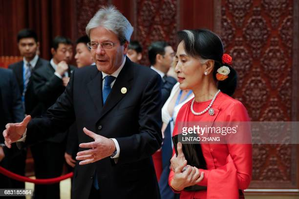Myanmar State Counsellor Aung San Suu Kyi attends the Roundtable Summit Phase One Sessions during the Belt and Road Forum at the International...