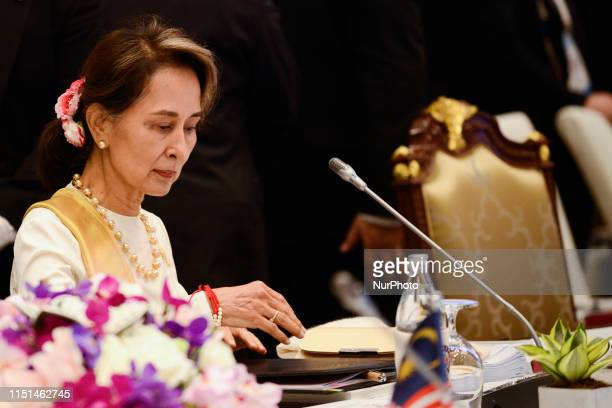 Myanmar State Counsellor Aung San Suu Kyi during a plenary session at the 34th ASEAN Summit in Bangkok Thailand 22 June 2019