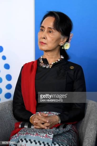 Myanmar State Counsellor Aung San Suu Kyi listens to an address to the New Colombo Plan Reception at the ASEAN Australia special summit being held in...