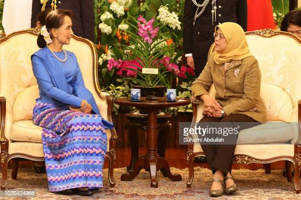 Myanmar State Counsellor Aung San Suu Kyi meets with Singapore President Halimah Yacob at the Istana on August 21 2018 in Singapore Aung San Suu Kyi...