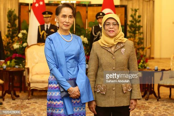 Myanmar State Counsellor Aung San Suu Kyi meets with Singapore President, Halimah Yacob at the Istana on August 21, 2018 in Singapore. Aung San Suu...