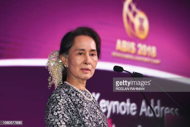 Myanmar State Counsellor Aung San Suu Kyi speaks at a business forum on the sidelines of the 33rd Association of Southeast Asian Nations summit in...