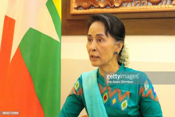 Myanmar State Counsellor Aung San Suu Kyi speaks during the Asahi Shimbun interview on June 7 2018 in Nay Pyi Taw Myanmar