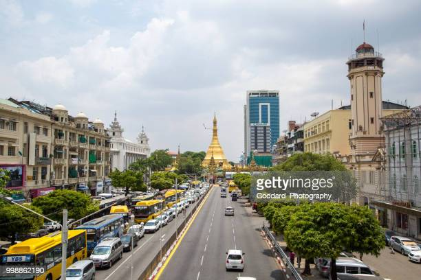 myanmar: sule pagoda - myanmar culture stock pictures, royalty-free photos & images