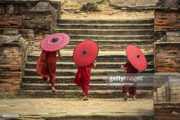 Myanmar The backside three novice walking on the Mingun pagoda