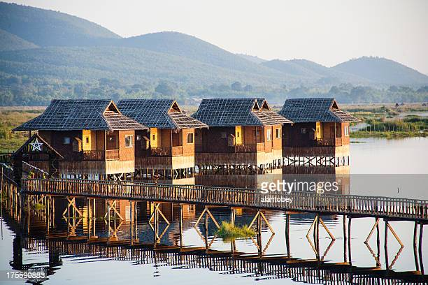 myanmar: tourist cabinas on inle lake - inle lake stock pictures, royalty-free photos & images