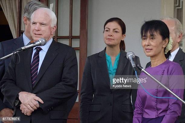 Myanmar - U.S. Senator John McCain and Myanmar's pro-democracy leader Aung San Suu Kyi give a press conference in Yangon, Myanmar, on Jan. 22, 2012....