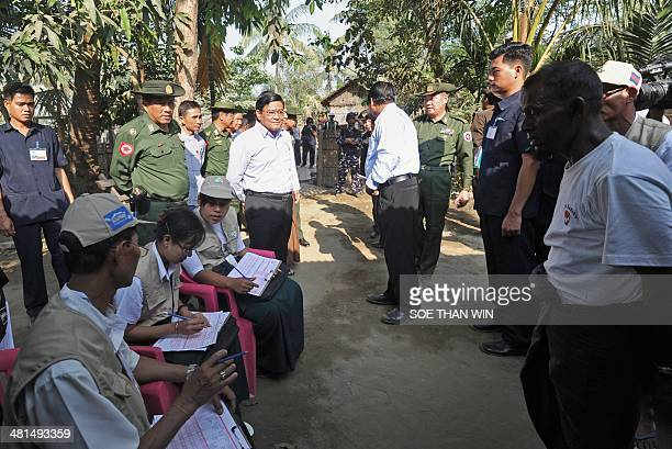 Myanmar Vice President Nyan Tun visits during a census taking at the village of Barasa on the outskirts of Sittwe in the western Myanmar state of...