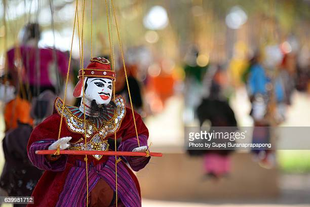 myanmar wood marionette - dolly golden stock pictures, royalty-free photos & images