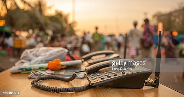 Myanmar, Yangon , Jan 11 - Telephone boots in Myanmar is pretty basic.