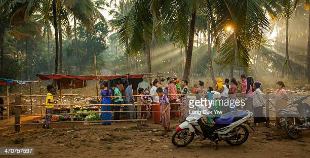 CONTENT] Myanmar Yangon January 15 open air village wet markets at Ngwe Saung