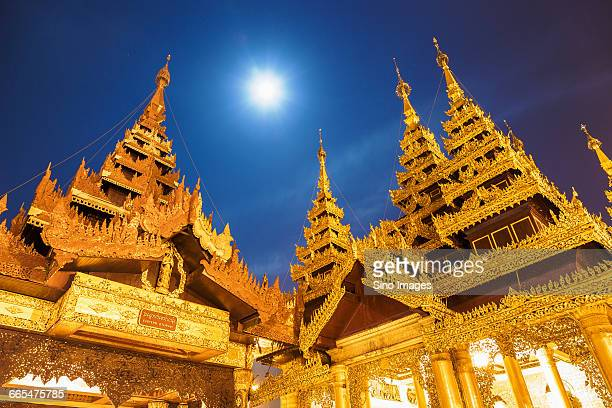 Myanmar, Yangon, Moon over Shwedagon Pagoda