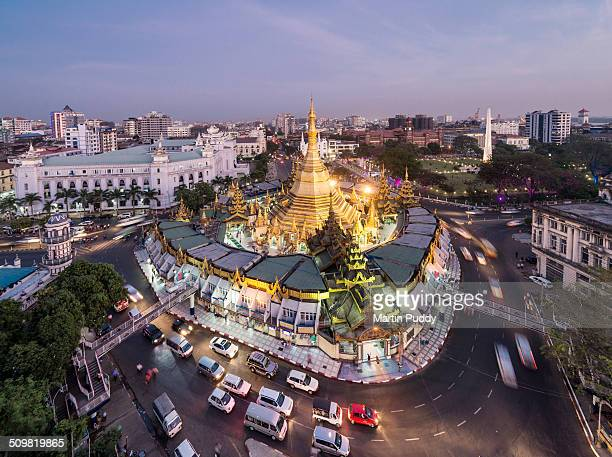 myanmar, yangon, sule pagoda at sunset - yangon stock pictures, royalty-free photos & images