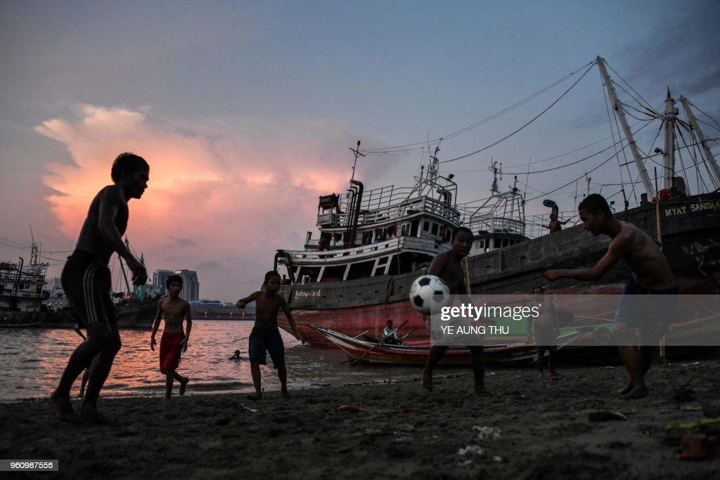 TOPSHOT-FBL-MYANMAR-PITCH-LANDSCAPE : News Photo