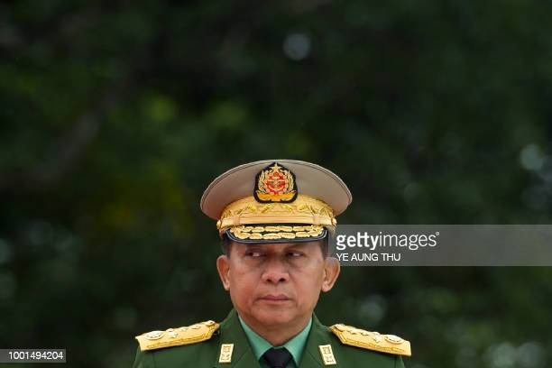Myanmar's Chief Senior General Min Aung Hlaing commanderinchief of the Myanmar armed forces arrives to pay his respects to Myanmar independence hero...