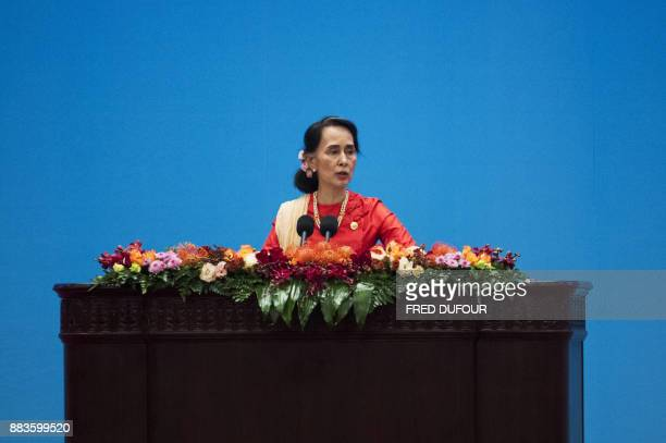 Myanmar's civilian leader Aung San Suu Kyi gives a speech at the opening ceremony of the 'CPC in dialogue with world political parties highlevel...