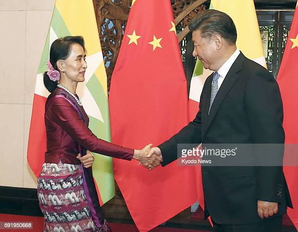 Myanmar's de facto leader Aung San Suu Kyi meets with Chinese President Xi Jinping in Beijing on Aug 19 2016 Suu Kyi also met with Chinese Premier Li...