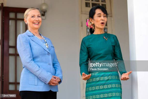 Myanmar's democracy leader Aung San Suu Kyi speaks along side US Secretary of State Hillary Clinton during a press conference after their meeting at...