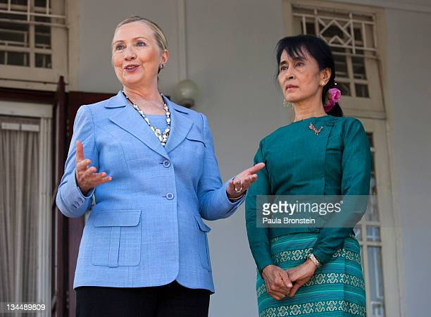 Myanmar's democracy leader Aung San Suu Kyi stands along side US Secretary of State Hillary Clinton during a press conference after their meeting at...
