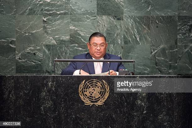 Myanmar's Foreign Affairs Minister Wunna Maung Lwin delivers a speech during the United Nations Sustainable Development Summit at United Nations...