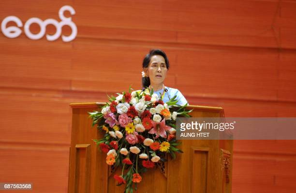 Myanmar's Foreign Minister and State Counsellor Aung San Suu Kyi speaks during the second session of the Union Peace Conference in Naypyidaw on May...