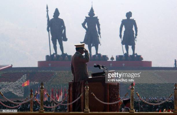 Myanmar's junta chief Than Shwe salutes during the 63rd Armed Forces Day in administrative capital Naypyidaw on March 27, 2008. Than Shwe said that...