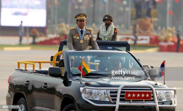 Myanmars military chief Senior General Min Aung Hlaing attends a military parade marking the 72nd Armed Forces Day in political capital, Nay Pyi Taw,...
