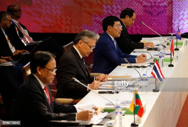 Myanmar's Minister of State For Foreign Affairs Kyaw Tin Thailand's Foreign Minister Don Pramudwinai Vietnam's Foreign Minister Pham Binh Minh and...