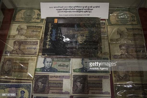 Myanmars old kyat notes featuring countrys independence leader General Aung San which were made illegal in 1987 by the former junta are seen...