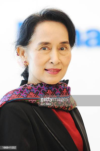 Myanmar's opposition democratic leader Aung San Suu Kyi visits Panasonic Center showroom on April 18 2013 in Tokyo Japan