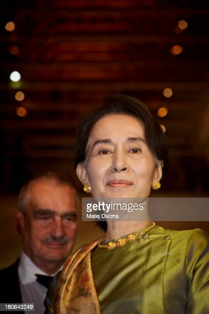 Myanmar's opposition leader and Nobel Peace Prize laureate Aung San Suu Kyi attends the opening ceremony of 17th Forum 2000 Conference on September...