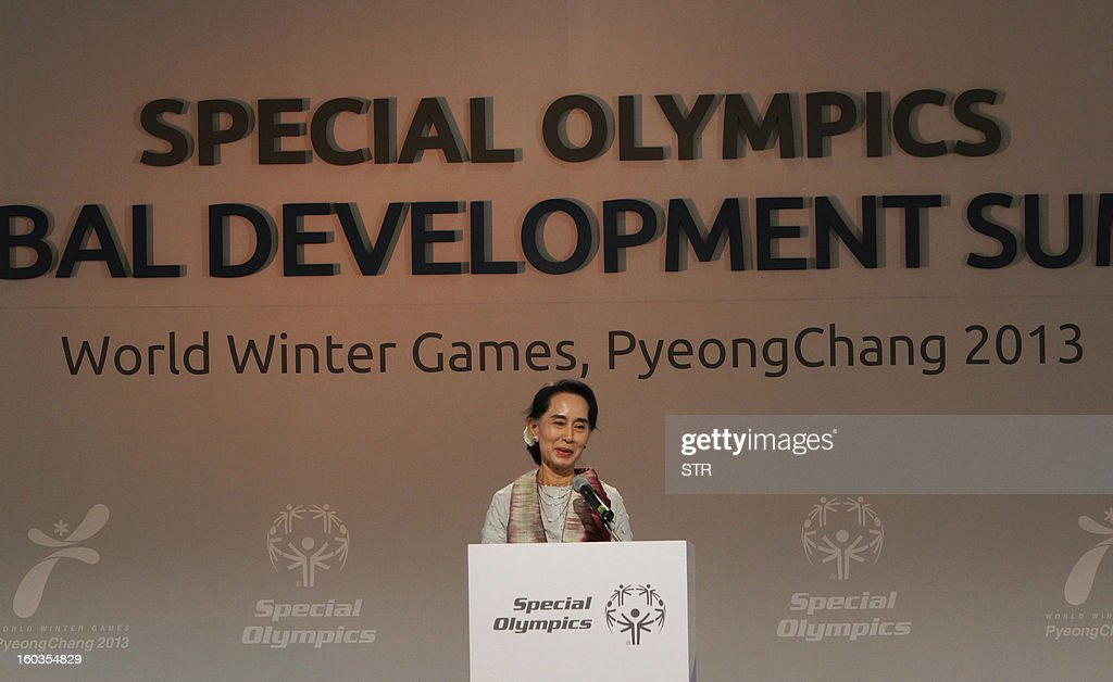 Myanmar's opposition leader, Aung San Suu Kyi speaks during a press conference of The Global Development Summit, held on the sidelines of the 10th Special Olympics World Winter Games in Pyeongchang, about 180 km east of Seoul on January 30, 2013. The democracy leader and Nobel peace laureate was a guest of honour at the opening of the Special Winter Olympics in the northeastern mountain resort of Pyeongchang -- the site of the full 2018 Winter Games.