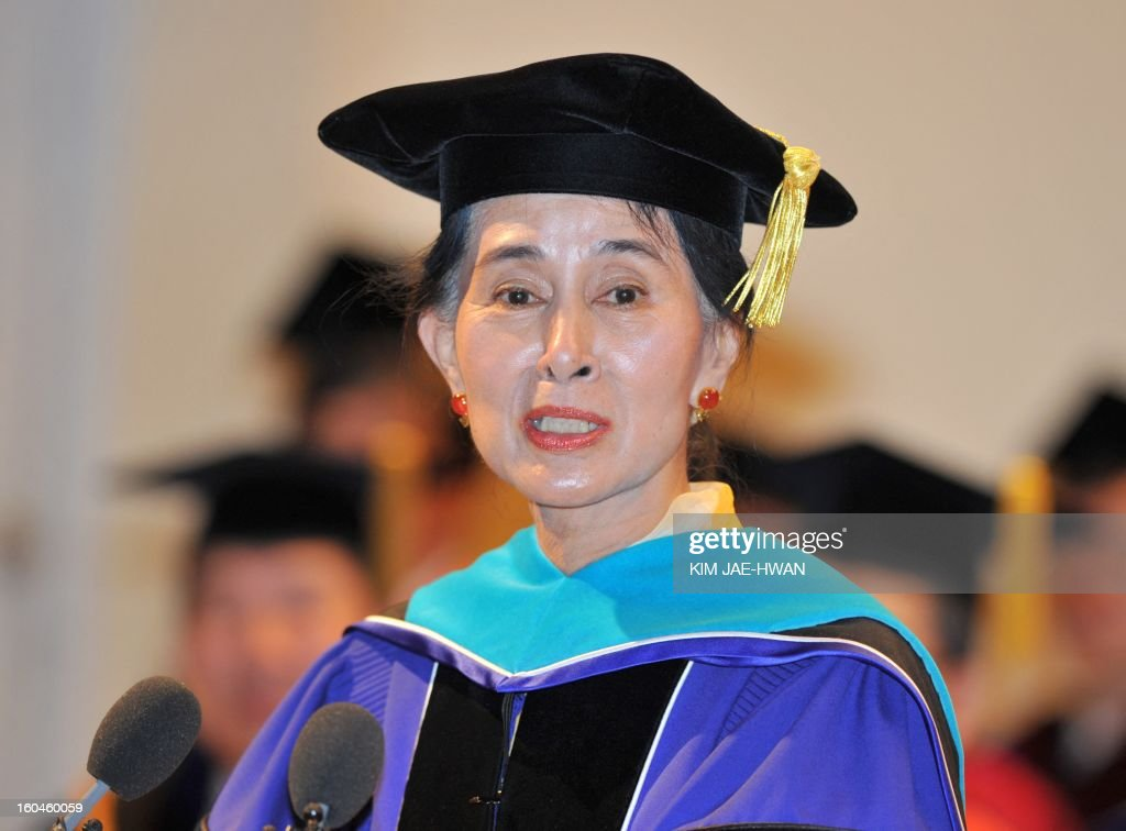 Myanmar's opposition leader Aung San Suu Kyi speaks to students after receiving an honorary doctorate from Seoul National University in Seoul on February 1, 2013. Suu Kyi called 1 February for democracy with a 'more human' face, arguing that technological development and economic wealth were no guarantee of a free and harmonious society.