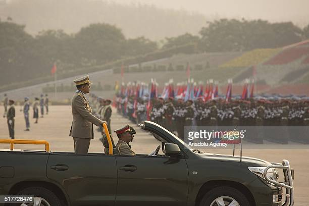 Myanmars powerful military chief Senior General Min Aung Hlaing arrives at the 71st Armed Forces Day parade in Nay Pyi Taw on March 27 2016...
