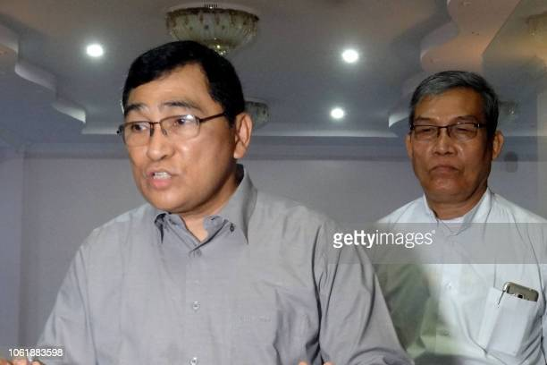 Myanmar's Soceial Welfare Minister Win Myat Aye speaks to journalists during a press conference on the repatriation of Rohingya refugees in Sittwe...